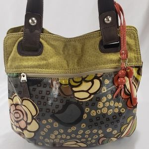 Fossil Key Per Floral Leather Shou Tote Bag Purse